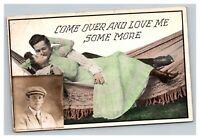 Vintage 1912 Romantic Comic Postcard & RPPC Photo Glued to it COOL