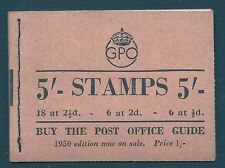 Bd28 5/- Gpo Gvi booklet - Aug 1950 Unmounted Mint/Mnh