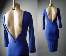 Blue Sculptural Open Back Backless Evening Cocktail Pencil Wiggle 126 ac Dress S