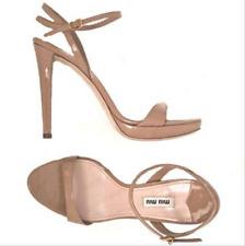 06935884f80b5 Miu Miu Nude Patent Leather Strappy Micro Platform Ankle Strap Sandal Sz 41