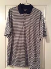 Mens Xl Greg Norman Play-Dry Short Sleeve Golf Shirt Navy-White Stripes