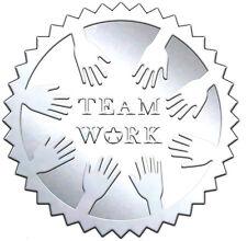 """Elegant SILVER embossed foil certificate seals """"TEAM WORK"""" TM2 - 50 pack"""