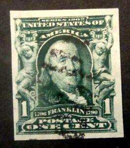 Buffalo Stamps:  Scott #314 Imperf Franklin, VF - Lite Cancel, CV = $20