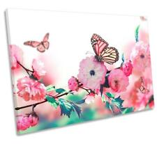 Floral Butterfly Flower CANVAS WALL ART DECO LARGE READY TO HANG all sizes