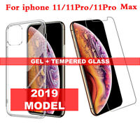 For iPhone 11 / 11 Pro MAX 2019 Clear Gel Case & Tempered Glass Screen Protector