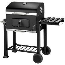 BBQ Barbacoa de carbón con ruedas vegetal parrilla fumador madera 115x65x107cm