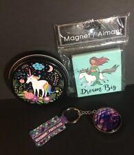 "Unicorn Tin, Mermaid Keychain, and a ""Dream Big"" Mermaid on Unicorn Magnet New"