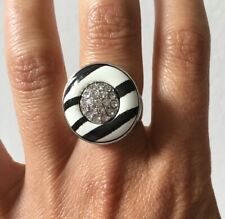 Silver Diamante Rhinestone Black & White Stripe Statement Round Ring Size N