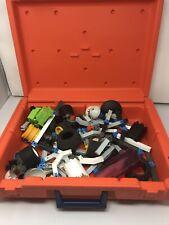 Vintage Fisher-Price CONSTRUX Orange Storage Case + Building Parts Pieces Lot