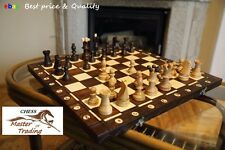 TOP QUALITY ''AMBASSADOR'' WOODEN CHESS SET 54X54! SUPERB CHESSBOARD AND PIECES!