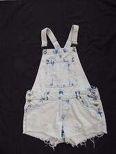 Denim Co distress/bleach/torn denim style bib/braces playsuit / hotpants Size 10