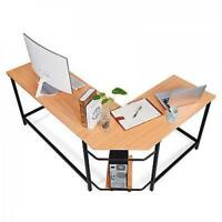 L-Shaped Corner Computer Desk PC Laptop Table Workstation Home Office, Wooden