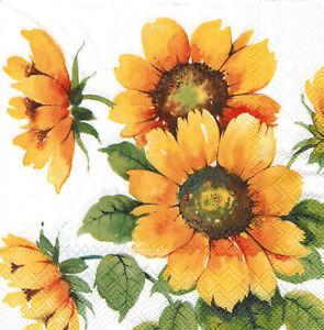 """4 Servietten /""""SONNENBLUME/"""" 33x33 Napkins Sommer Blume Garten Serviettentechnik"""