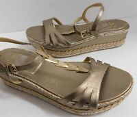 New Stuart Weitzman Gold Strappy Leather T-strap Platform Wedge Sandals 8.5 M