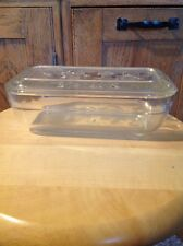 "Vintage Glass Refrigerator Container And Lid, Ivy Design.  8"" L X 2.5"" H X 4.25"""
