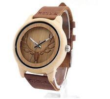 New Unisex Wristwatch Bamboo Wooden Watch Bracelet Bangle Quartz Anlog Watches