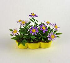 Dollhouse Miniature Artisan Purple Daisies in Yellow Planter
