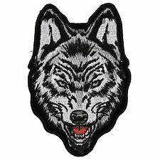 Embroidered Staring Wolf Iron on Sew on Biker Patch Badge