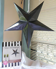 FIVE  BLACK 45 CM HANRING STAR DECORATION GREAT FOR ANY PARTY OCCASIONS.