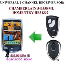 Chamberlain 54335EML / Homentry HE54332 compatible 2-ch receiver 12-24 VAC/VDC