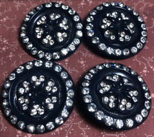 (Lotof 4)large Vintage Retro Buttons W/ Rhinestones