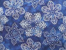 Snowflakes Winter Blue Silver Metallic Christmas Batik Robert Kaufman Fabric Yd