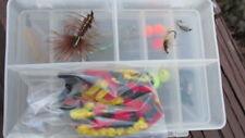 Plano 3414 Micro Magnum Fishing fly Box w/ 16 Flies + Chenille Bag Lot F