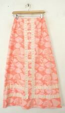 LILLY PULITZER Vintage Skirt 1970s Orange & Pink Lace Trim Seashell Print Maxi