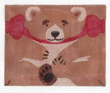 *NEW*  LIZ Happy Brown Bear Roll up Ornament handpainted Needlepoint Canvas 18m