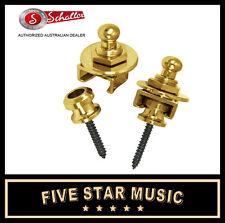 GOLD Genuine Schaller Straplocks Set Lock for Guitar Strap NEW Straplock