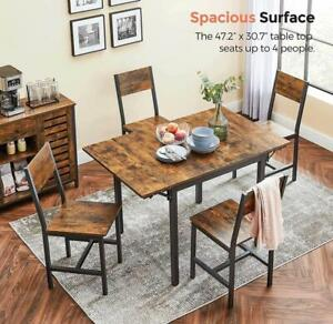 """47.2""""L Kitchen Table Folding Dining Table, Seats 2-4 People, Rustic Brown and Bl"""