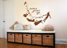 Wall Decal Vinyl Sticker Bedroom never grow up peter pan quote nursery  bo3285