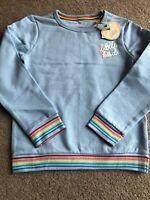 Little Bird By Jools Oliver 6-7 Years Sky Blue Rainbow Sweatshirt Jumper