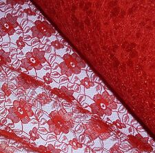 Red Budget Flower Lace Fabric *Per Metre