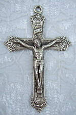 """Catholic Medal CRUCIFIX Ornate 2"""" Necklace or rosary 48mm silver finish metal"""