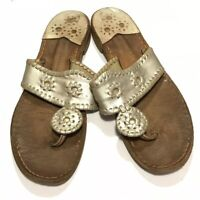 Jack Rogers Sandals Women's Size 7 Gold Leather Medallion Thongs