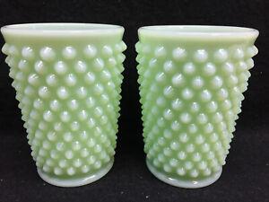 pair jadeite green milk Hobnail pattern glass tumbler cup set lot jade water 2PC