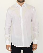 NWT $440 ERMANNO SCERVINO White Cotton Long Sleeve Casual Shirt Top s. IT50 / L