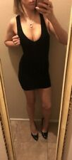 BeBe Dress BodyCon Sexy Stretch Wiggle Sleeveless Black Ribbed Tank Club XS