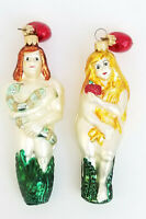 """PAIR of VINTAGE DEPT. 56 ADAM & EVE MADE in POLAND GLASS CHRISTMAS ORNAMENT ~ 6"""""""