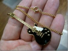 #M306-C) GIBSON Les Paul Repro 1959 GUITAR Necklace Jewelry '59 Black/White pick