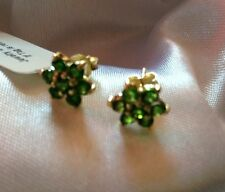 1.25 Ct, AAA, Chrome Diopside Earrings, Stud, 14K Gold On Sterling Silver