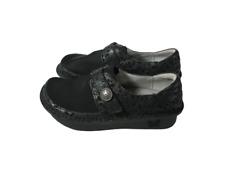 Alegria DEN-435 Black Leather Fabric Clogs 36