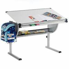 Bureau enfant écolier junior hauteur réglable table à dessin inclinable blanc