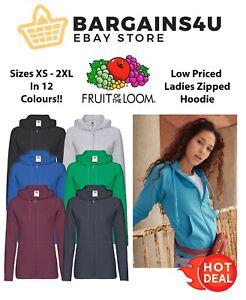 Fruit of the Loom Ladies Lightweight Zip Up Hooded Sweatshirt GENUINE Hoodie