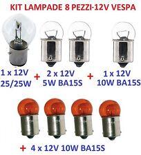 12V KIT LAMPADE VESPA PK 125 LAMPADINA BA15S 10W 25W FARO ANTERIORE FRECCE EPOCA