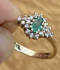 Vintage, Solid 9k Gold Emerald & Diamond Cluster Ring ~ Rich & Sparkling Beauty!