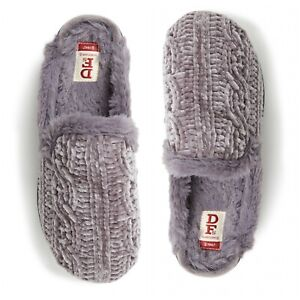 New Dearfoams Claire Chunky Knit Clog Slipper Womens Slippers Casual  Grey Color