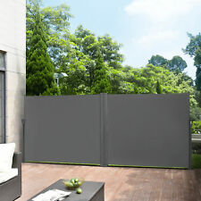 [pro.tec]® Doppelte Seitenmarkise 180x600cm grau Sichtschutz Sonnenschutz