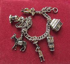 Vintage Charm Bracelet Jamaica Silver Metal Drum Hut Donkey Dancer 6 Charms